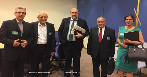 وفد من المنشقين عن زمره  مجاهدي خلق يلتقي بنواب في البرلمان الأوربي في مقر البرلمان ببروكسل
