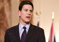 British Foreign Secretary David Miliband made clear his country's position on the terrorist nature of the MKO grouplet had not changed