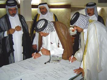در انتهای مراسم فیلم جنایات مجاهدین به نمایش گذاشته شد و طومار اخراج مجاهدین از عراق به امضاء میهمانان رسید.